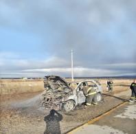 Ardió camino a Punta Arenas